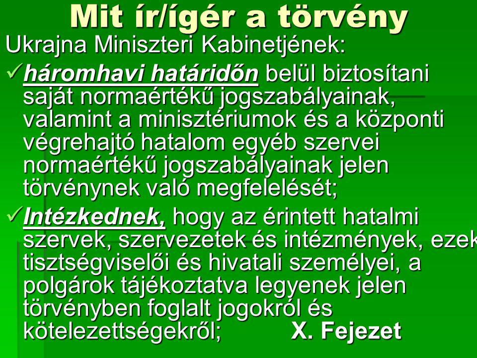 Mit ír/ígér a törvény Ukrajna Miniszteri Kabinetjének: háromhavi határidőn belül biztosítani saját normaértékű jogszabályainak, valamint a minisztériumok és a központi végrehajtó hatalom egyéb szervei normaértékű jogszabályainak jelen törvénynek való megfelelését; háromhavi határidőn belül biztosítani saját normaértékű jogszabályainak, valamint a minisztériumok és a központi végrehajtó hatalom egyéb szervei normaértékű jogszabályainak jelen törvénynek való megfelelését; Intézkednek, hogy az érintett hatalmi szervek, szervezetek és intézmények, ezek tisztségviselői és hivatali személyei, a polgárok tájékoztatva legyenek jelen törvényben foglalt jogokról és kötelezettségekről;X.