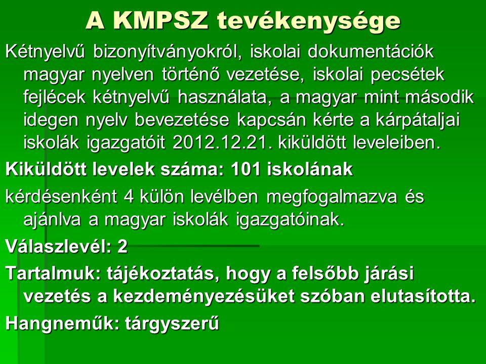 A KMPSZ tevékenysége Kétnyelvű bizonyítványokról, iskolai dokumentációk magyar nyelven történő vezetése, iskolai pecsétek fejlécek kétnyelvű használata, a magyar mint második idegen nyelv bevezetése kapcsán kérte a kárpátaljai iskolák igazgatóit 2012.12.21.