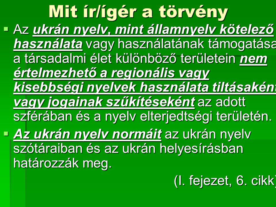 Mit ír/ígér a törvény  Az ukrán nyelv, mint államnyelv kötelező használata vagy használatának támogatása a társadalmi élet különböző területein nem értelmezhető a regionális vagy kisebbségi nyelvek használata tiltásaként vagy jogainak szűkítéseként az adott szférában és a nyelv elterjedtségi területén.