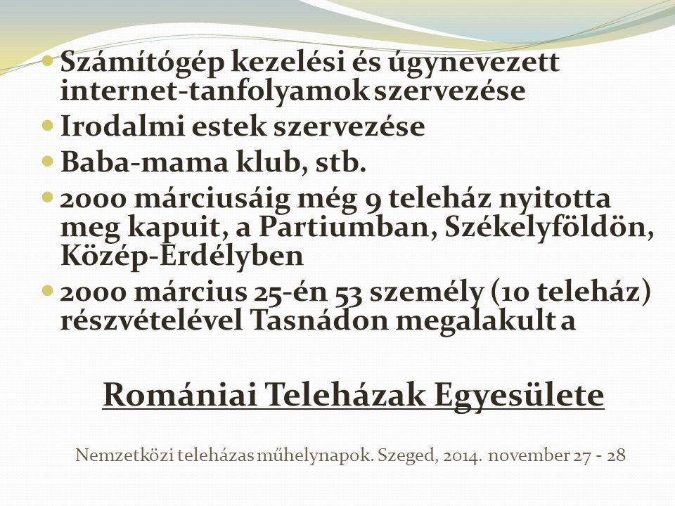 Számítógép kezelési és úgynevezett internet-tanfolyamok szervezése Irodalmi estek szervezése Baba-mama klub, stb. 2000 márciusáig még 9 teleház nyitot