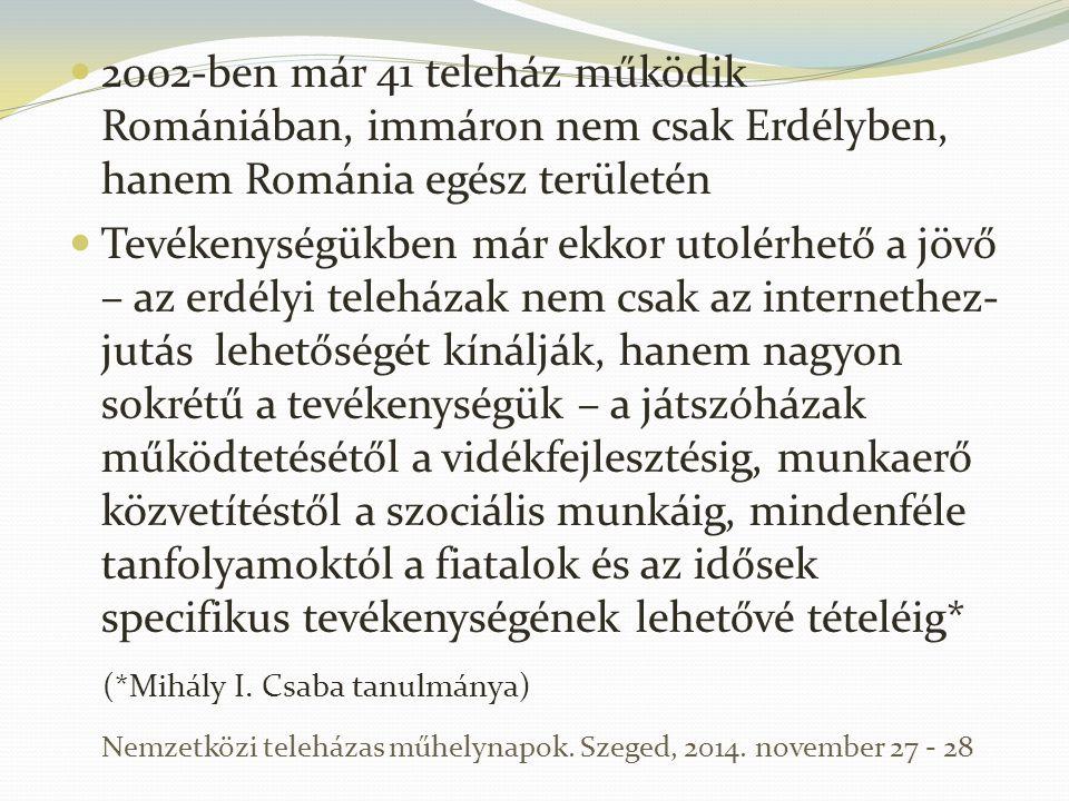 2002-ben már 41 teleház működik Romániában, immáron nem csak Erdélyben, hanem Románia egész területén Tevékenységükben már ekkor utolérhető a jövő – a