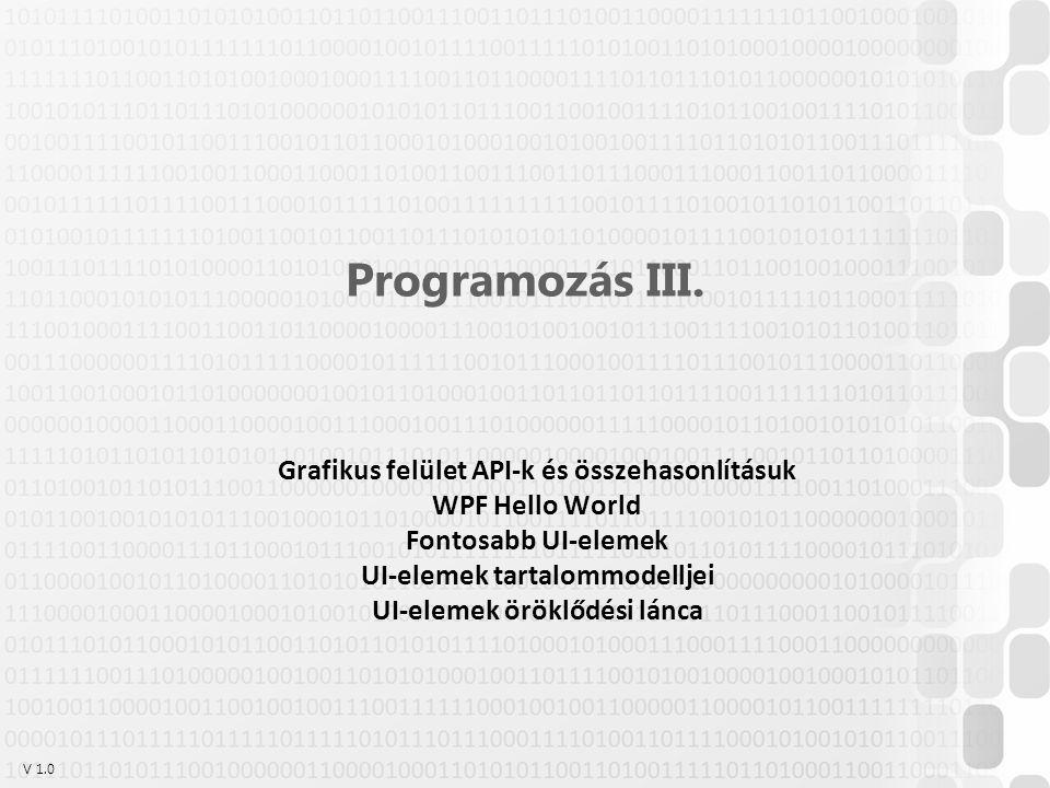 V 1.0 Programozás III. Grafikus felület API-k és összehasonlításuk WPF Hello World Fontosabb UI-elemek UI-elemek tartalommodelljei UI-elemek öröklődés