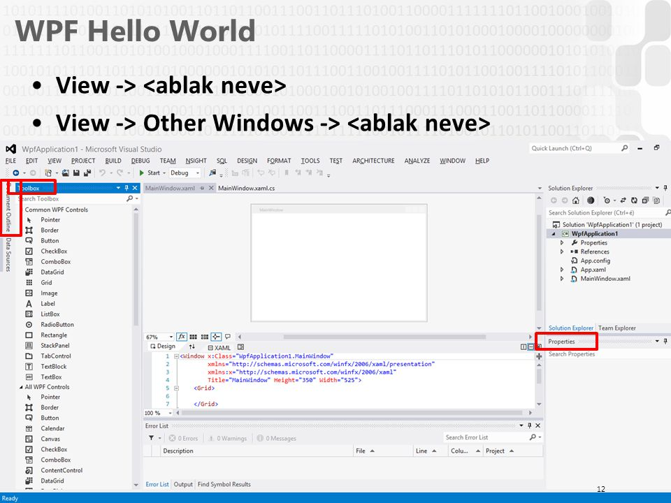V 1.0ÓE-NIK, 2014 WPF Hello World View -> View -> Other Windows -> 12