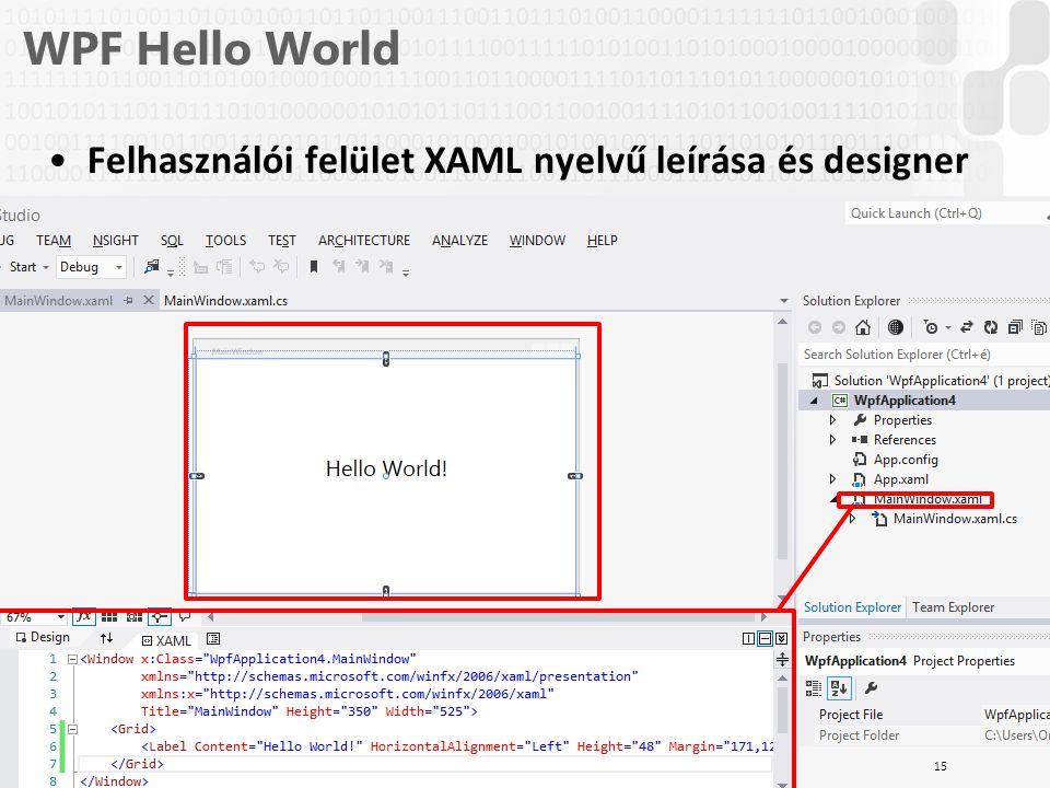 V 1.0ÓE-NIK, 2014 WPF Hello World Felhasználói felület XAML nyelvű leírása és designer 15