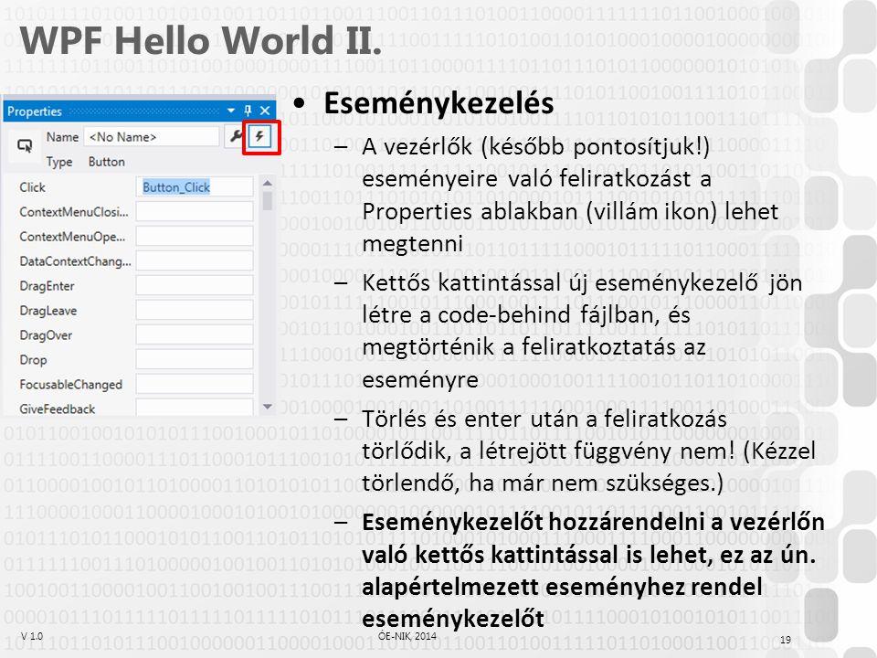 V 1.0ÓE-NIK, 2014 WPF Hello World II. Eseménykezelés –A vezérlők (később pontosítjuk!) eseményeire való feliratkozást a Properties ablakban (villám ik