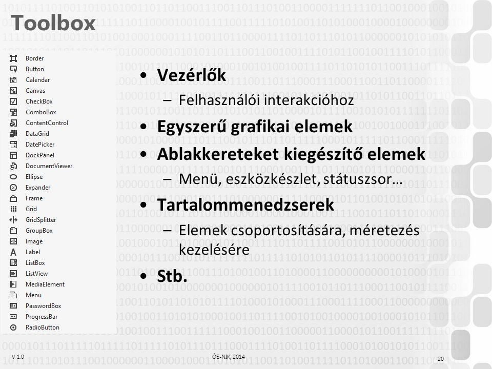 V 1.0ÓE-NIK, 2014 Toolbox Vezérlők –Felhasználói interakcióhoz Egyszerű grafikai elemek Ablakkereteket kiegészítő elemek –Menü, eszközkészlet, státusz