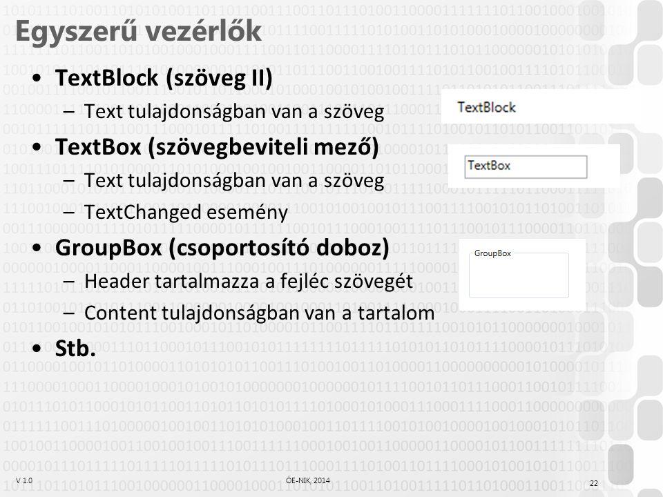 V 1.0ÓE-NIK, 2014 Egyszerű vezérlők TextBlock (szöveg II) –Text tulajdonságban van a szöveg TextBox (szövegbeviteli mező) –Text tulajdonságban van a s
