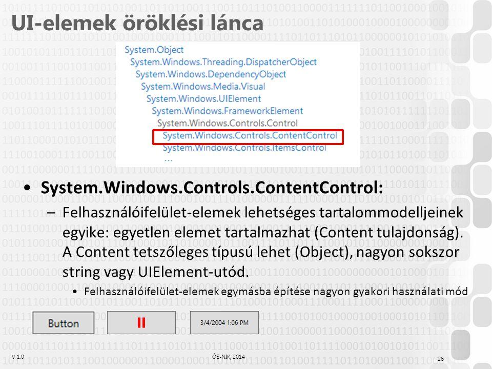 V 1.0ÓE-NIK, 2014 UI-elemek öröklési lánca System.Windows.Controls.ContentControl: –Felhasználóifelület-elemek lehetséges tartalommodelljeinek egyike: