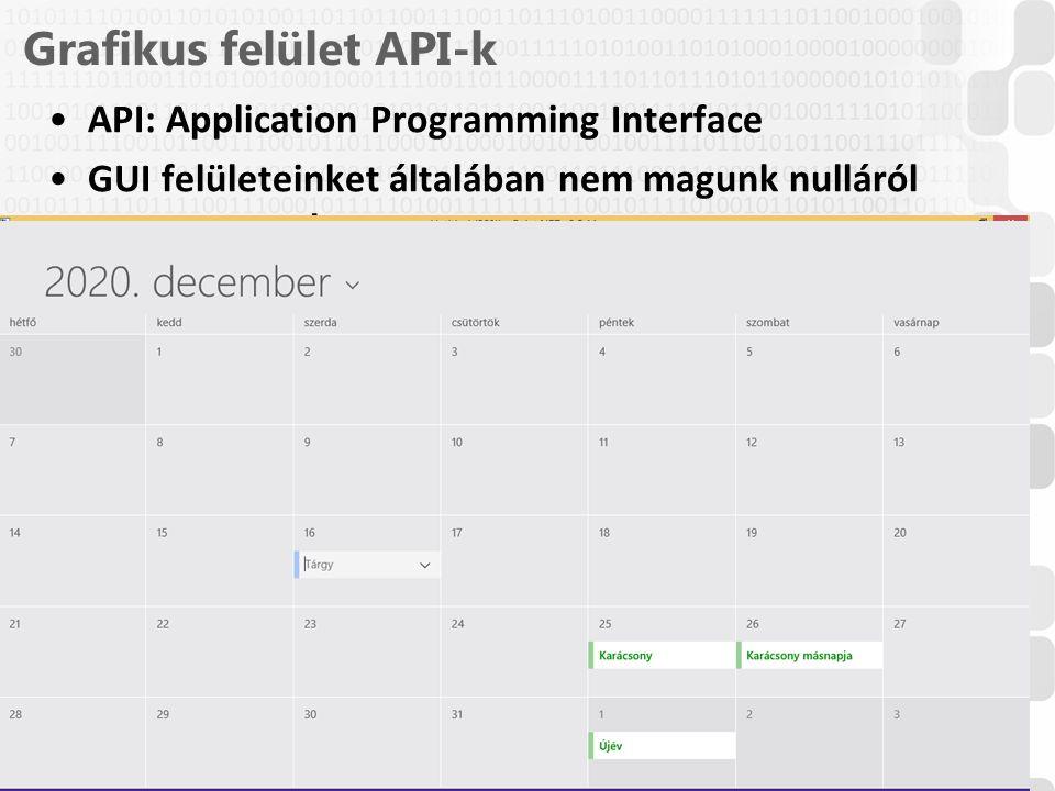 V 1.0ÓE-NIK, 2014 (Csak desktop alkalmazásokhoz alkalmas API-k vannak listázva) Grafikus felület API-k API: Application Programming Interface GUI felü