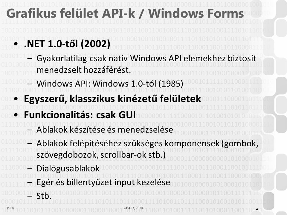 V 1.0ÓE-NIK, 2014 Grafikus felület API-k / Windows Forms.NET 1.0-től (2002) –Gyakorlatilag csak natív Windows API elemekhez biztosít menedzselt hozzáf