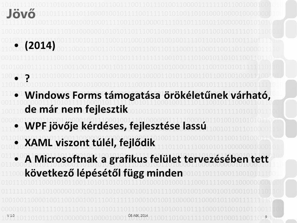 V 1.0ÓE-NIK, 2014 Jövő (2014) ? Windows Forms támogatása örökéletűnek várható, de már nem fejlesztik WPF jövője kérdéses, fejlesztése lassú XAML viszo