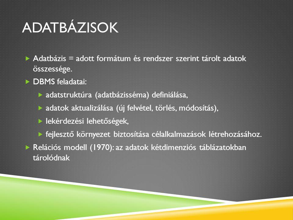 ADATBÁZISOK  Adatbázis = adott formátum és rendszer szerint tárolt adatok összessége.  DBMS feladatai:  adatstruktúra (adatbázisséma) definiálása,