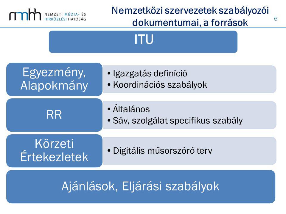 6 Igazgatás definíció Koordinációs szabályok Egyezmény, Alapokmány Általános Sáv, szolgálat specifikus szabály RR Digitális műsorszóró terv Körzeti Értekezletek Ajánlások, Eljárási szabályok Nemzetközi szervezetek szabályozói dokumentumai, a források ITU