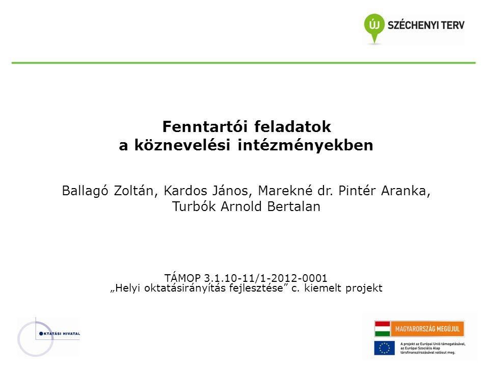 Fenntartói feladatok a köznevelési intézményekben Ballagó Zoltán, Kardos János, Marekné dr. Pintér Aranka, Turbók Arnold Bertalan TÁMOP 3.1.10-11/1-20
