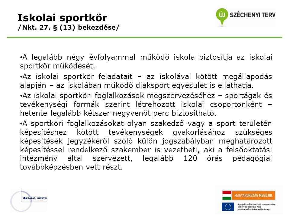 A legalább négy évfolyammal működő iskola biztosítja az iskolai sportkör működését. Az iskolai sportkör feladatait – az iskolával kötött megállapodás