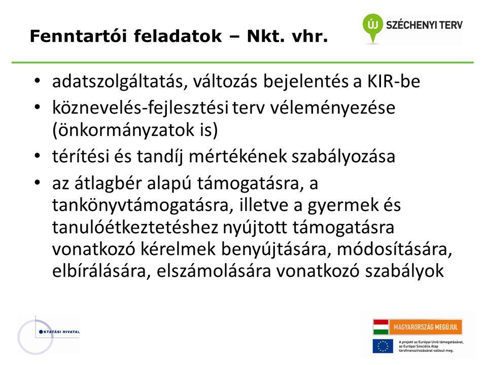 adatszolgáltatás, változás bejelentés a KIR-be köznevelés-fejlesztési terv véleményezése (önkormányzatok is) térítési és tandíj mértékének szabályozás