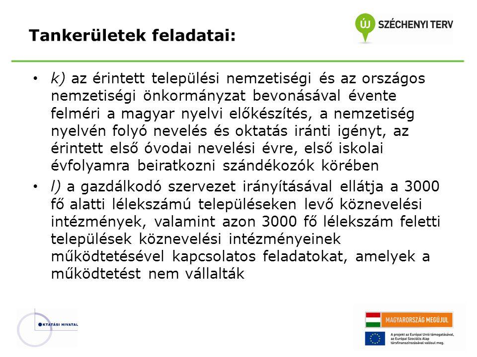 k) az érintett települési nemzetiségi és az országos nemzetiségi önkormányzat bevonásával évente felméri a magyar nyelvi előkészítés, a nemzetiség nye