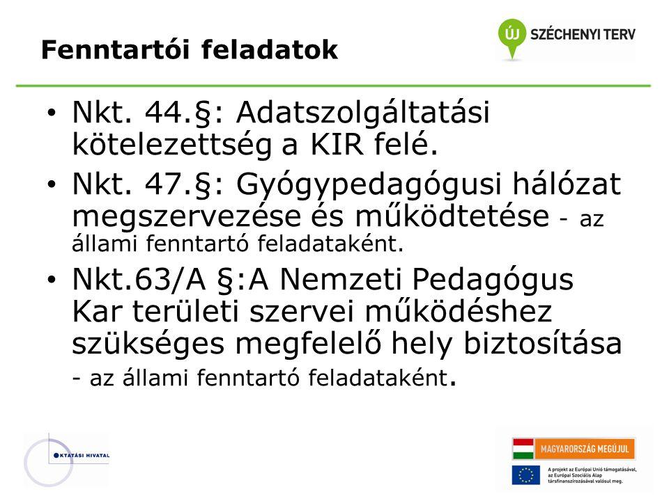 Nkt. 44.§: Adatszolgáltatási kötelezettség a KIR felé. Nkt. 47.§: Gyógypedagógusi hálózat megszervezése és működtetése - az állami fenntartó feladatak