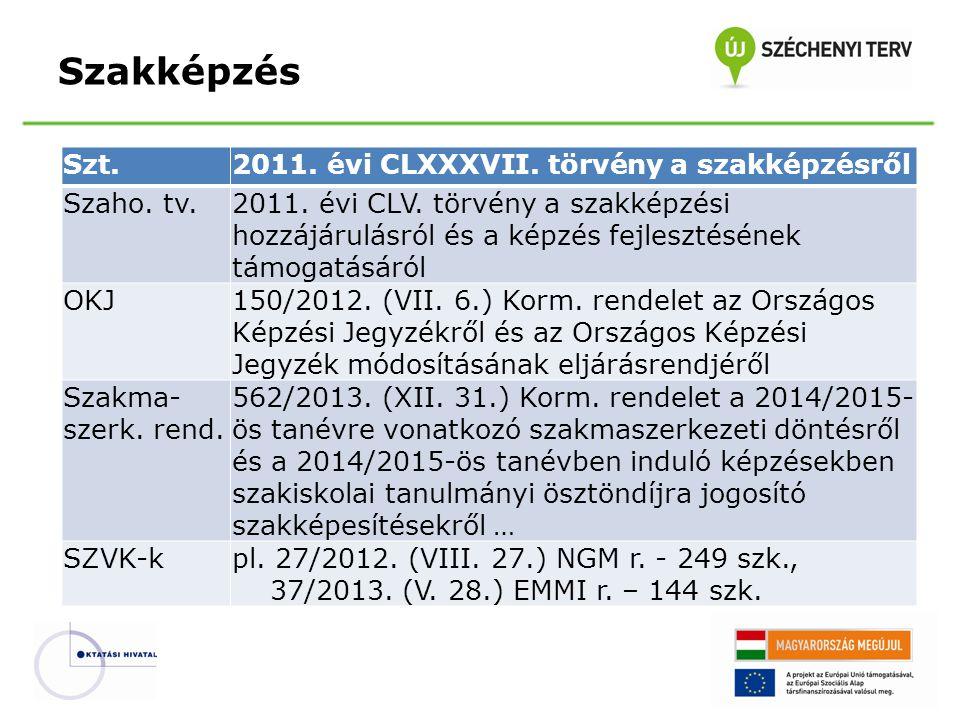 Szakképzés Szt.2011. évi CLXXXVII. törvény a szakképzésről Szaho. tv.2011. évi CLV. törvény a szakképzési hozzájárulásról és a képzés fejlesztésének t