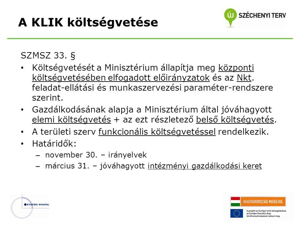 SZMSZ 33. § Költségvetését a Minisztérium állapítja meg központi költségvetésében elfogadott előirányzatok és az Nkt. feladat-ellátási és munkaszervez