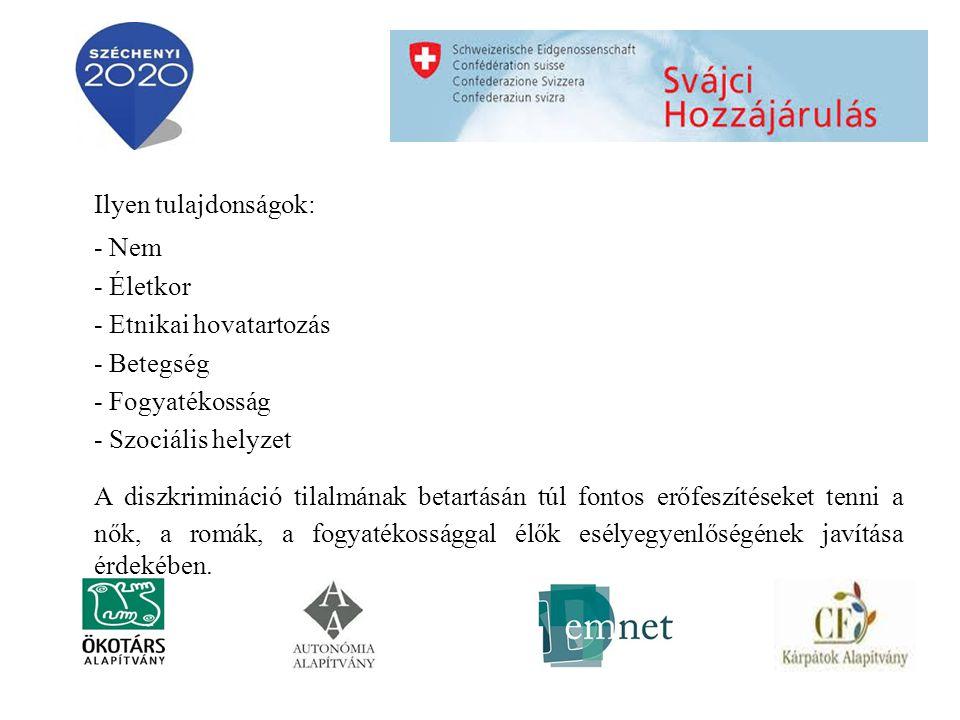 Ilyen tulajdonságok: - Nem - Életkor - Etnikai hovatartozás - Betegség - Fogyatékosság - Szociális helyzet A diszkrimináció tilalmának betartásán túl fontos erőfeszítéseket tenni a nők, a romák, a fogyatékossággal élők esélyegyenlőségének javítása érdekében.