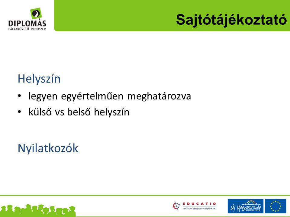 Sajtótájékoztató Helyszín legyen egyértelműen meghatározva külső vs belső helyszín Nyilatkozók