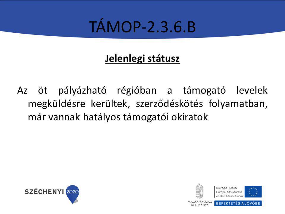 TÁMOP-2.3.6.B Jelenlegi státusz Az öt pályázható régióban a támogató levelek megküldésre kerültek, szerződéskötés folyamatban, már vannak hatályos támogatói okiratok