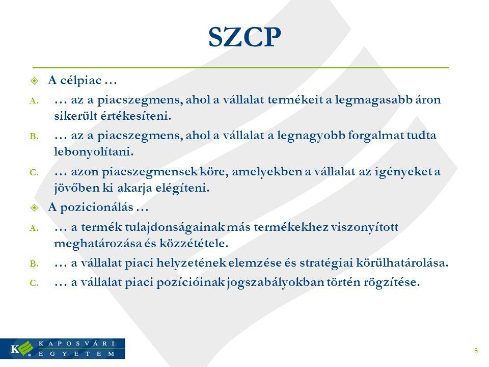 SZCP  A célpiac … A. … az a piacszegmens, ahol a vállalat termékeit a legmagasabb áron sikerült értékesíteni. B. … az a piacszegmens, ahol a vállalat