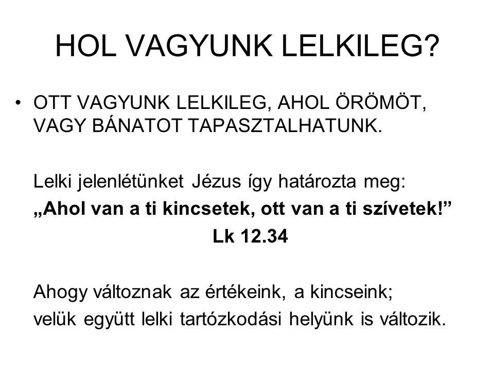 """HOL VAGYUNK LELKILEG? OTT VAGYUNK LELKILEG, AHOL ÖRÖMÖT, VAGY BÁNATOT TAPASZTALHATUNK. Lelki jelenlétünket Jézus így határozta meg: """"Ahol van a ti kin"""