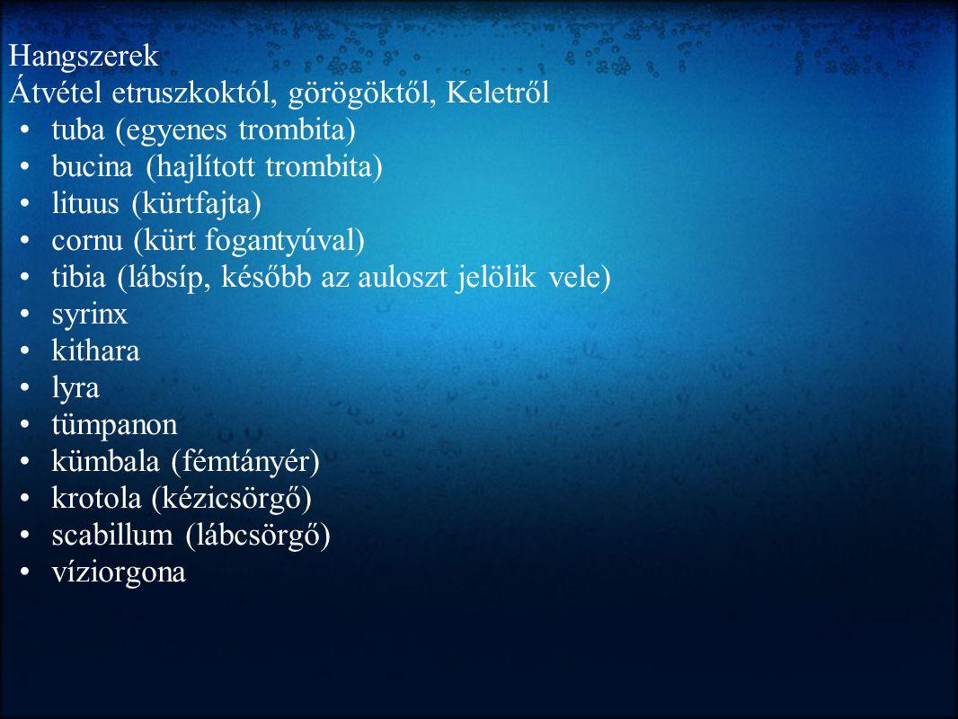 Hangszerek Átvétel etruszkoktól, görögöktől, Keletről tuba (egyenes trombita) bucina (hajlított trombita) lituus (kürtfajta) cornu (kürt fogantyúval)