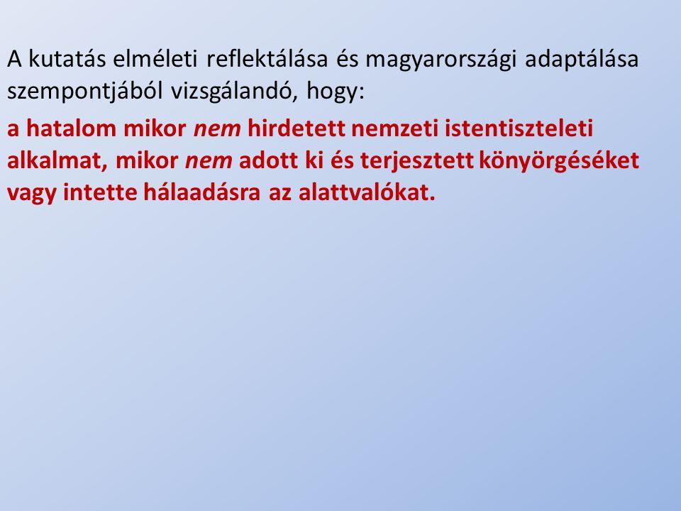 .. A kutatás elméleti reflektálása és magyarországi adaptálása szempontjából vizsgálandó, hogy: a hatalom mikor nem hirdetett nemzeti istentiszteleti