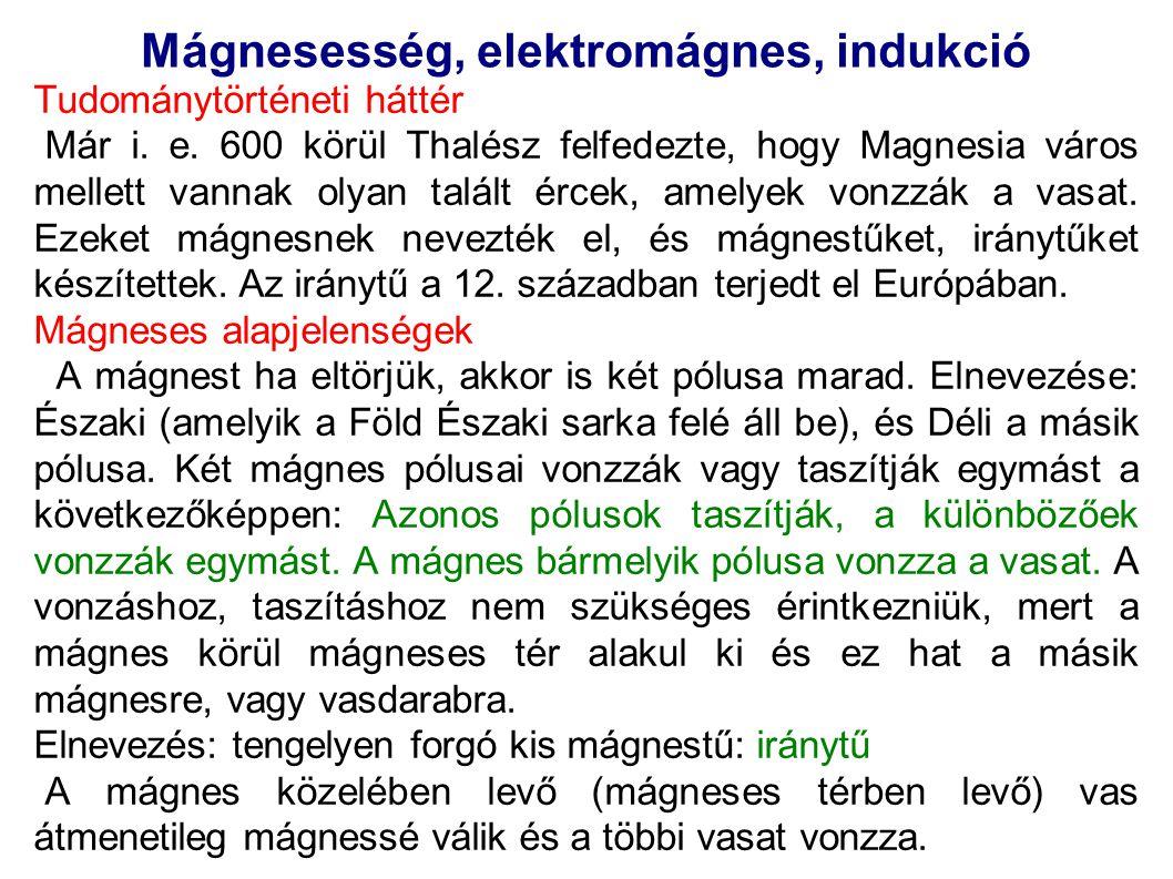 Mágnesesség, elektromágnes, indukció Tudománytörténeti háttér Már i. e. 600 körül Thalész felfedezte, hogy Magnesia város mellett vannak olyan talált