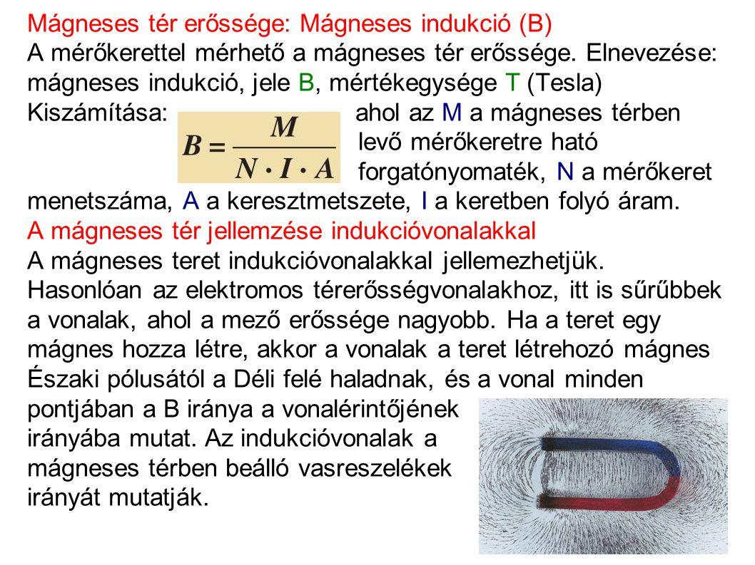 Mágneses tér erőssége: Mágneses indukció (B) A mérőkerettel mérhető a mágneses tér erőssége. Elnevezése: mágneses indukció, jele B, mértékegysége T (T