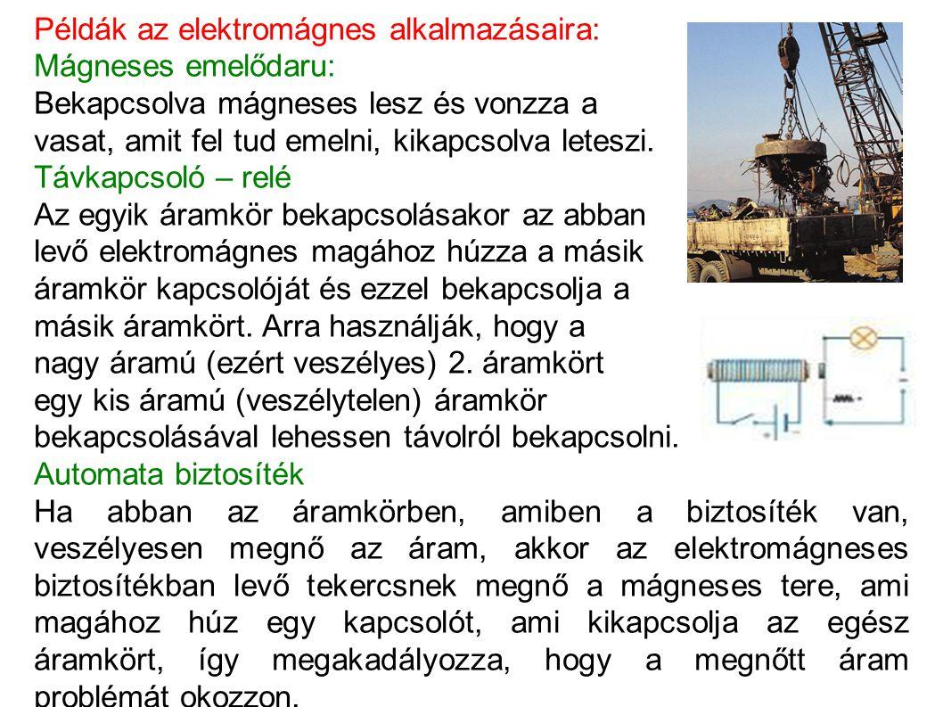 Példák az elektromágnes alkalmazásaira: Mágneses emelődaru: Bekapcsolva mágneses lesz és vonzza a vasat, amit fel tud emelni, kikapcsolva leteszi. Táv