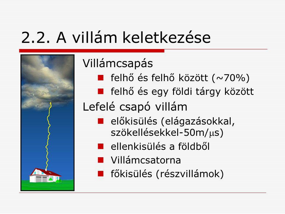 2.2. A villám keletkezése Villámcsapás felhő és felhő között (~70%) felhő és egy földi tárgy között Lefelé csapó villám előkisülés (elágazásokkal, szö