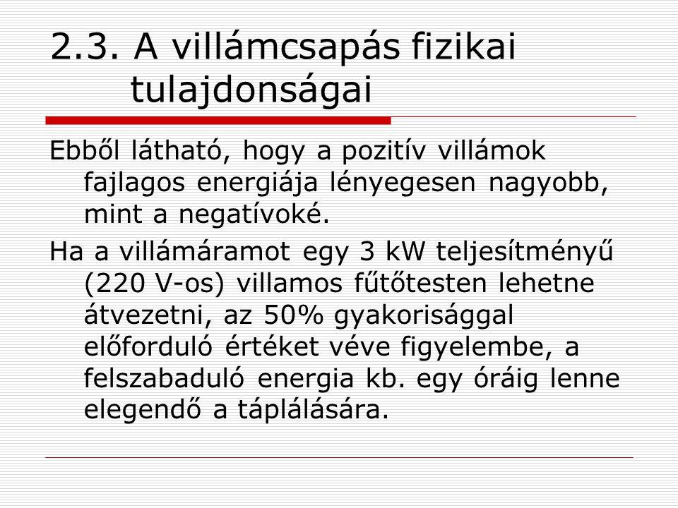 2.3. A villámcsapás fizikai tulajdonságai Ebből látható, hogy a pozitív villámok fajlagos energiája lényegesen nagyobb, mint a negatívoké. Ha a villám