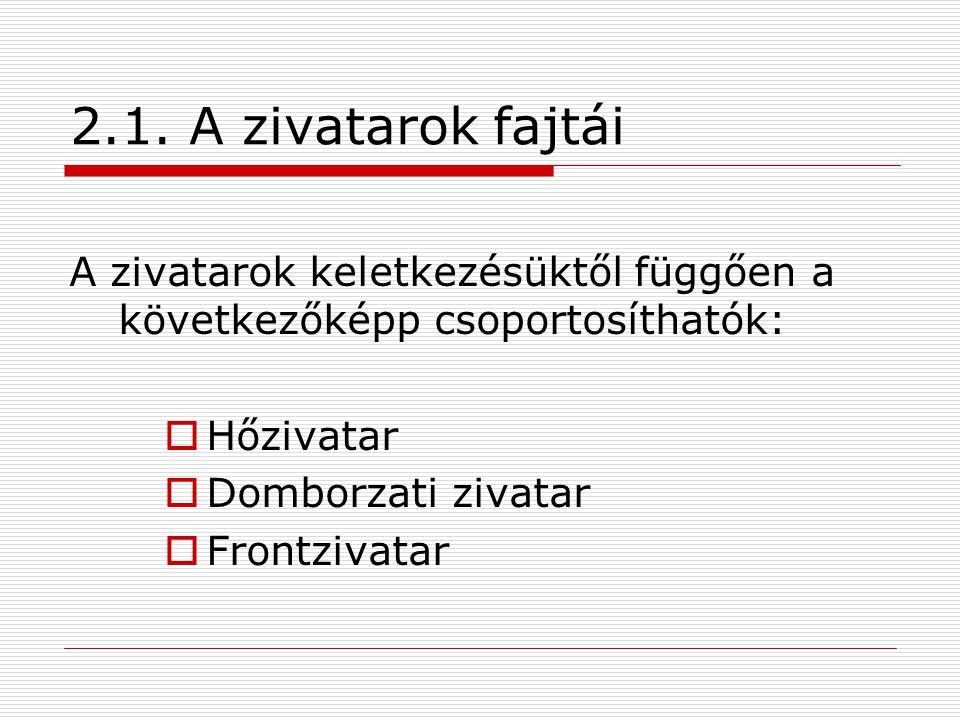 2.1. A zivatarok fajtái A zivatarok keletkezésüktől függően a következőképp csoportosíthatók:  Hőzivatar  Domborzati zivatar  Frontzivatar