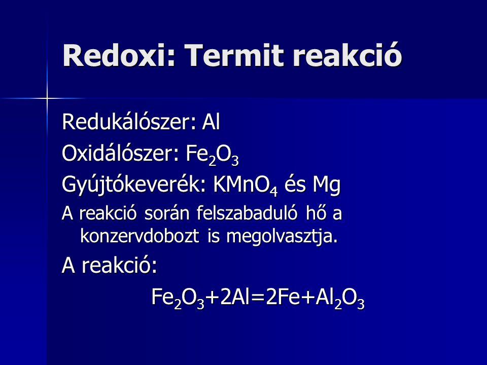 Redoxi: Termit reakció Redukálószer: Al Oxidálószer: Fe 2 O 3 Gyújtókeverék: KMnO 4 és Mg A reakció során felszabaduló hő a konzervdobozt is megolvasz