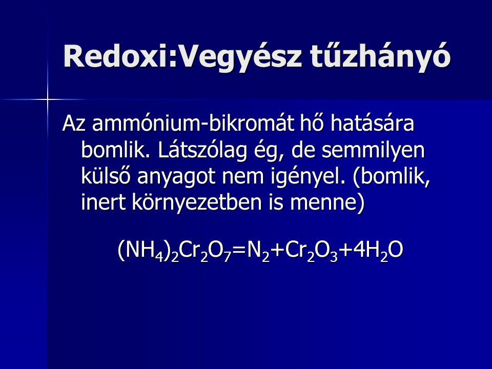 Redoxi:Vegyész tűzhányó Az ammónium-bikromát hő hatására bomlik. Látszólag ég, de semmilyen külső anyagot nem igényel. (bomlik, inert környezetben is
