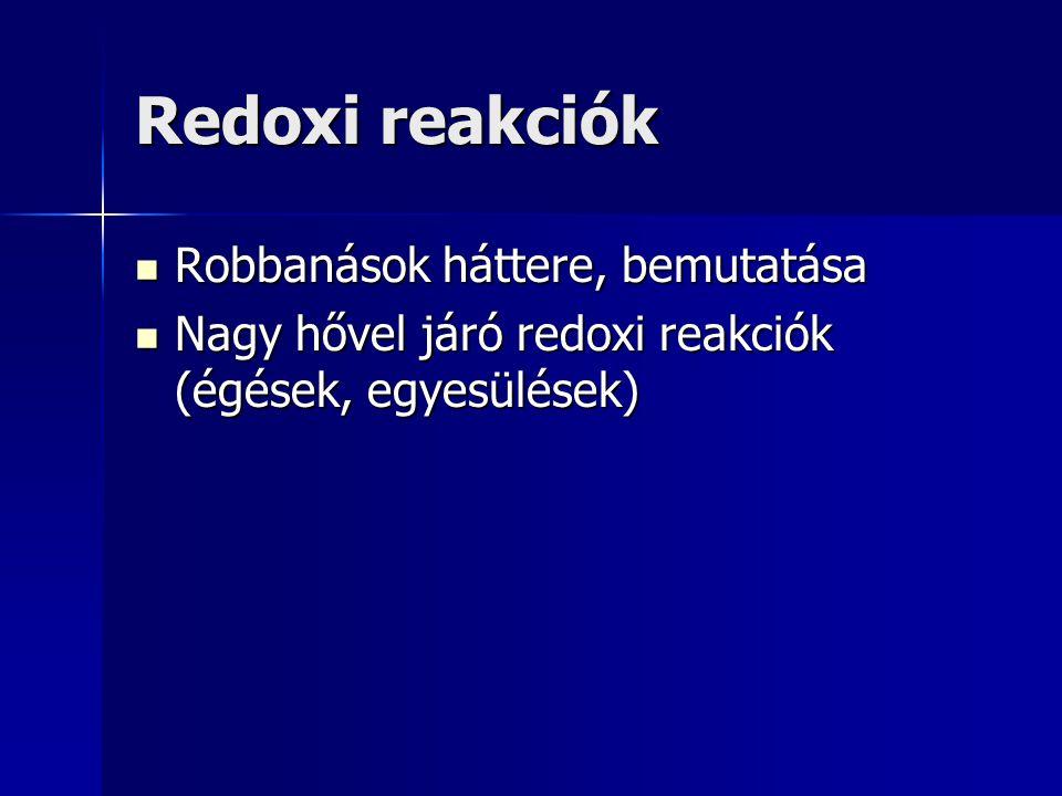Redoxi reakciók Robbanások háttere, bemutatása Robbanások háttere, bemutatása Nagy hővel járó redoxi reakciók (égések, egyesülések) Nagy hővel járó re