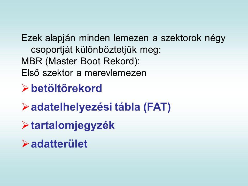 Ezek alapján minden lemezen a szektorok négy csoportját különböztetjük meg: MBR (Master Boot Rekord): Első szektor a merevlemezen  betöltõrekord  ad