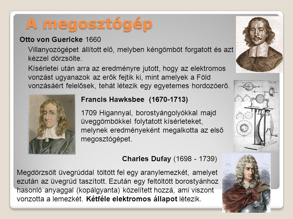 A megosztógép Otto von Guericke 1660 Villanyozógépet állított elő, melyben kéngömböt forgatott és azt kézzel dörzsölte.