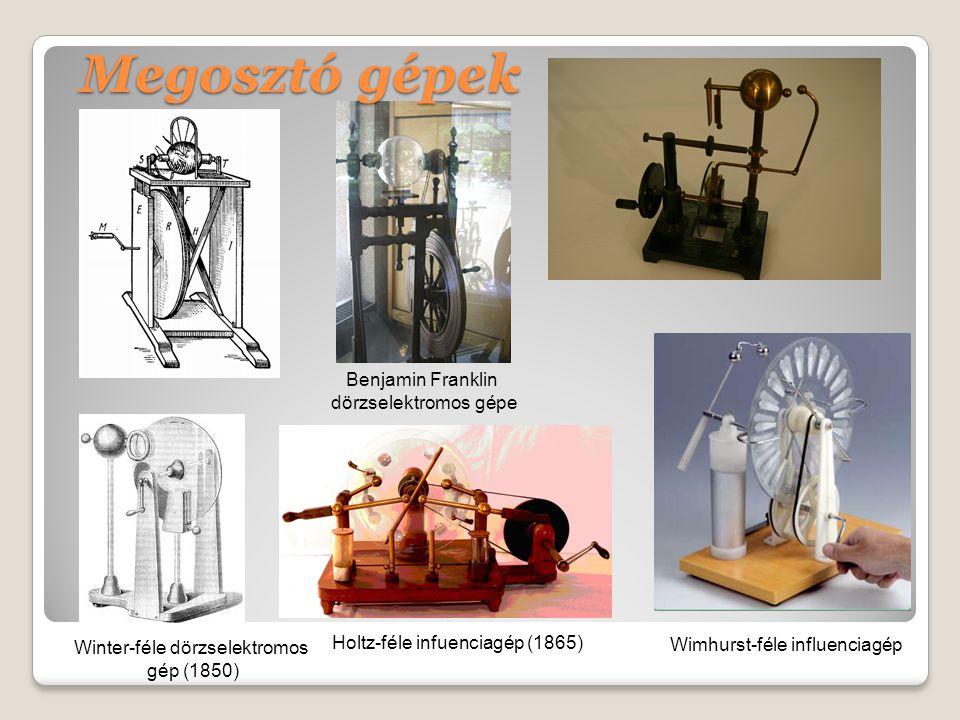 Megosztó gépek Holtz-féle infuenciagép (1865) Winter-féle dörzselektromos gép (1850) Wimhurst-féle influenciagép Benjamin Franklin dörzselektromos gépe