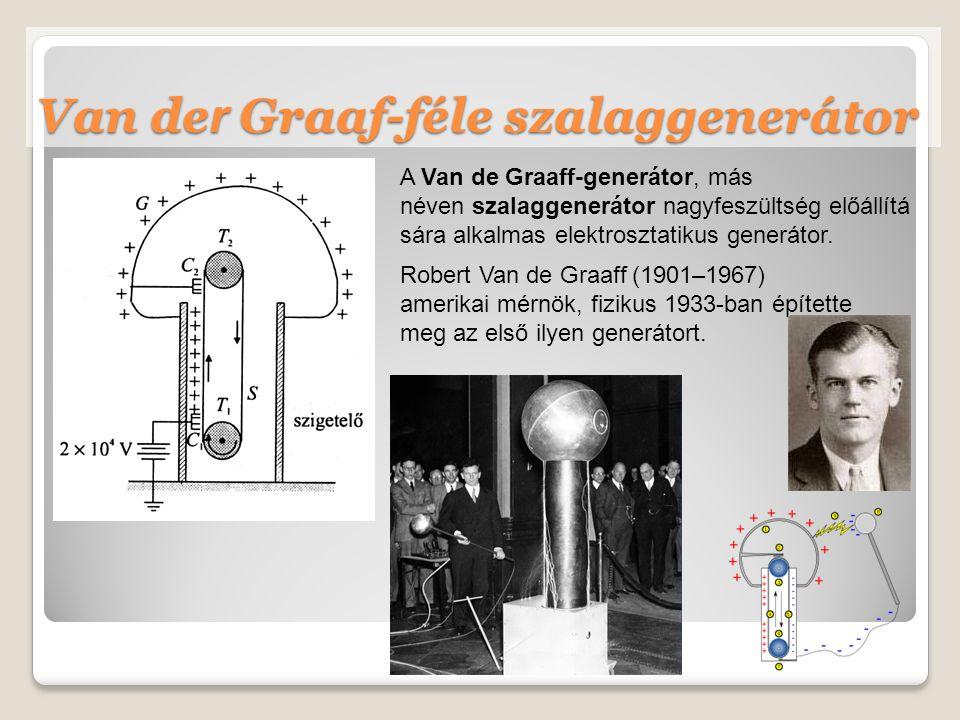A Van de Graaff-generátor, más néven szalaggenerátor nagyfeszültség előállítá sára alkalmas elektrosztatikus generátor.