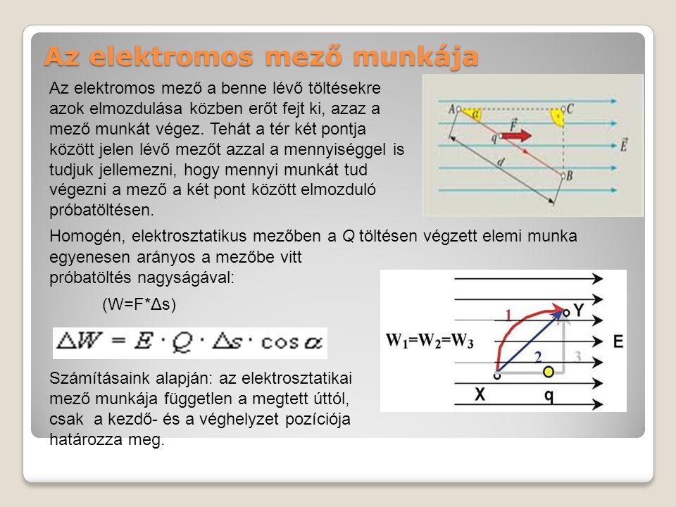 Az elektromos mező munkája Homogén, elektrosztatikus mezőben a Q töltésen végzett elemi munka Számításaink alapján: az elektrosztatikai mező munkája független a megtett úttól, csak a kezdő- és a véghelyzet pozíciója határozza meg.