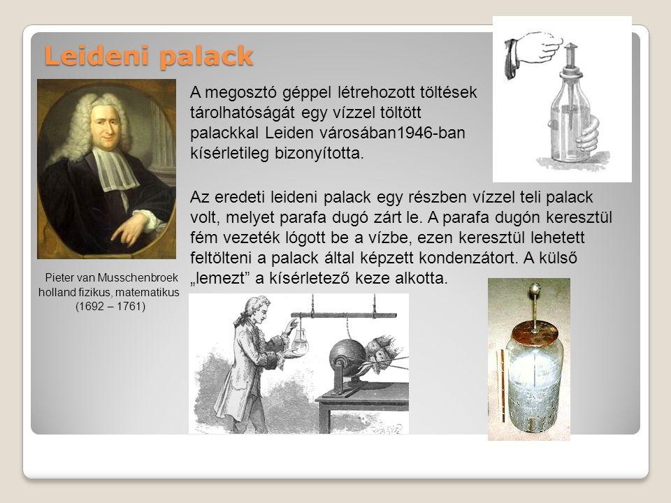 Leideni palack Az eredeti leideni palack egy részben vízzel teli palack volt, melyet parafa dugó zárt le.