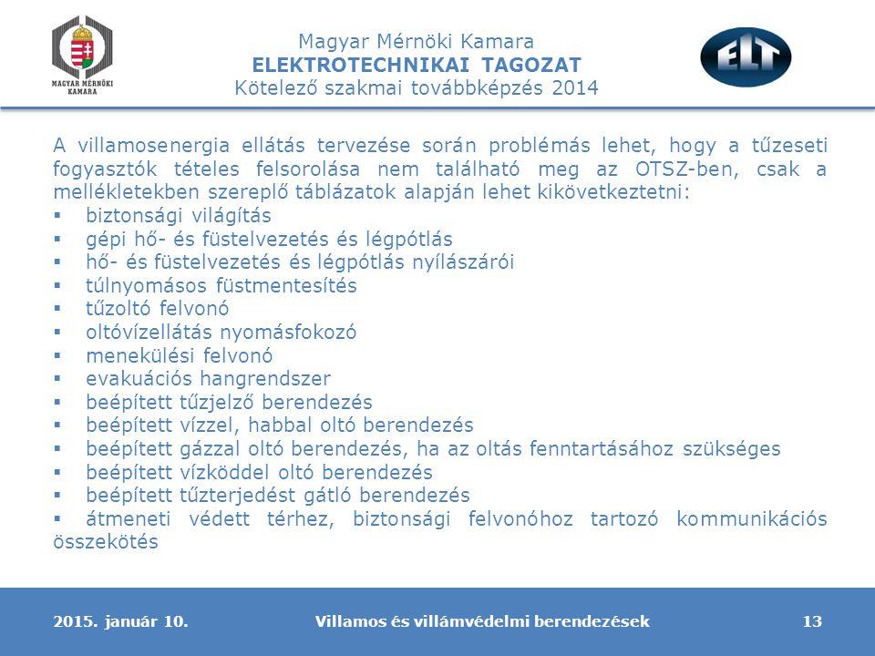 Magyar Mérnöki Kamara ELEKTROTECHNIKAI TAGOZAT Kötelező szakmai továbbképzés 2014 A villamosenergia ellátás tervezése során problémás lehet, hogy a tű