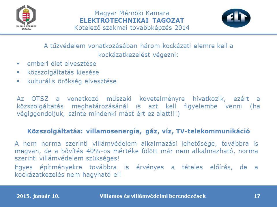 Magyar Mérnöki Kamara ELEKTROTECHNIKAI TAGOZAT Kötelező szakmai továbbképzés 2014 A tűzvédelem vonatkozásában három kockázati elemre kell a kockázatkezelést végezni:  emberi élet elvesztése  közszolgáltatás kiesése  kulturális örökség elvesztése Az OTSZ a vonatkozó műszaki követelményre hivatkozik, ezért a közszolgáltatás meghatározásánál is azt kell figyelembe venni (ha végiggondoljuk, szinte mindenki mást ért ez alatt!!!) Közszolgáltatás: villamosenergia, gáz, víz, TV-telekommunikáció Villamos és villámvédelmi berendezések172015.