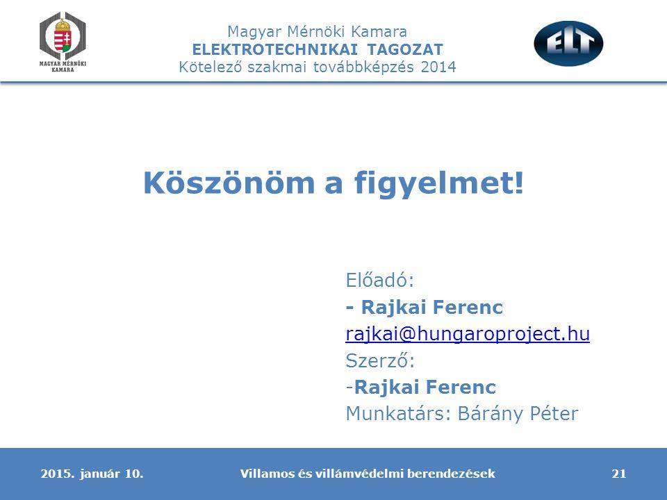 Magyar Mérnöki Kamara ELEKTROTECHNIKAI TAGOZAT Kötelező szakmai továbbképzés 2014 Köszönöm a figyelmet! 2015. január 10.21Villamos és villámvédelmi be
