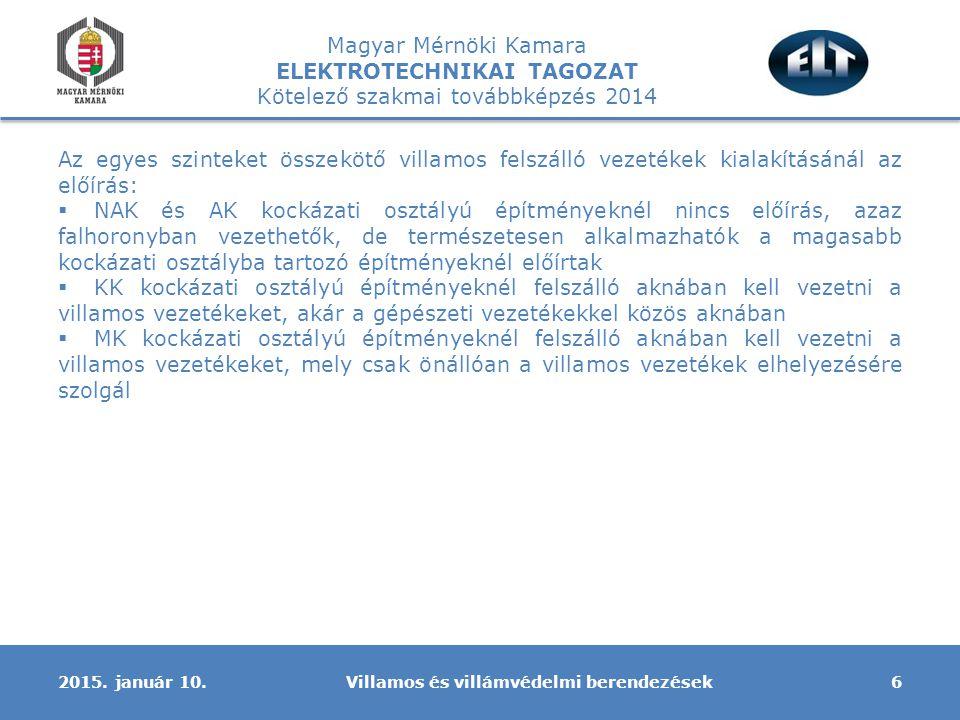 Magyar Mérnöki Kamara ELEKTROTECHNIKAI TAGOZAT Kötelező szakmai továbbképzés 2014 Az egyes szinteket összekötő villamos felszálló vezetékek kialakítás